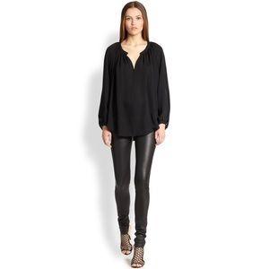 259aa673ff1 Tamara Mellon Silk Black Peasant Blouse Top
